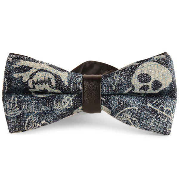 Layer Nostalgic Skull Printed Denim Bow Tie - CADETBLUE