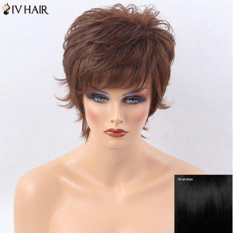Siv Hair Side Bang Shaggy Layered Tail Upwards Short Straight Human Hair Wig - JET BLACK 01