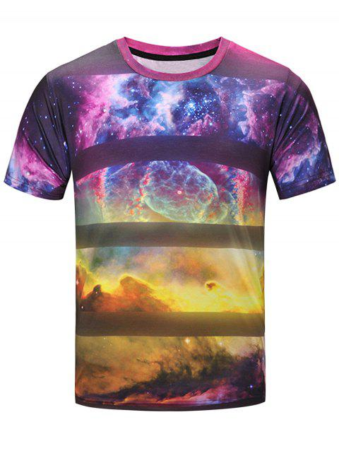 3D Galaxy Stripe Print Short Sleeve T-Shirt - COLORMIX XL
