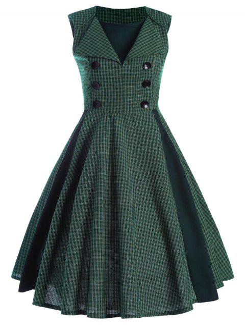 Printed Front Buttoned Sleeveless Vintage Dress - CHECKED M