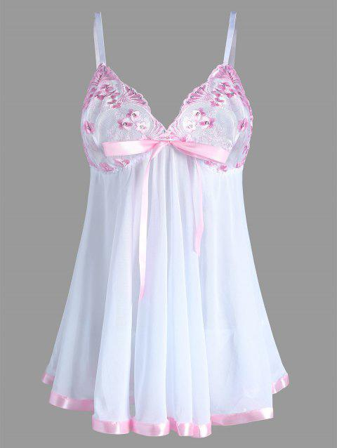 Plus Size Cami Mesh Embroidered Lingerie Dress - WHITE 5XL