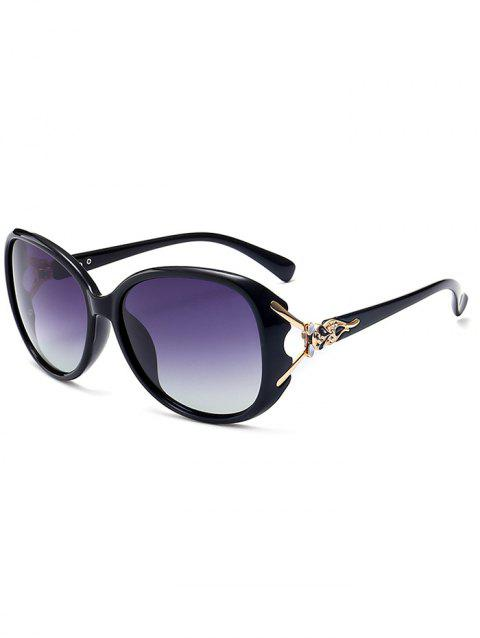 Metallic Carved Inlay Ombre Sunglasses - BLACK FRAME/GREY LENS