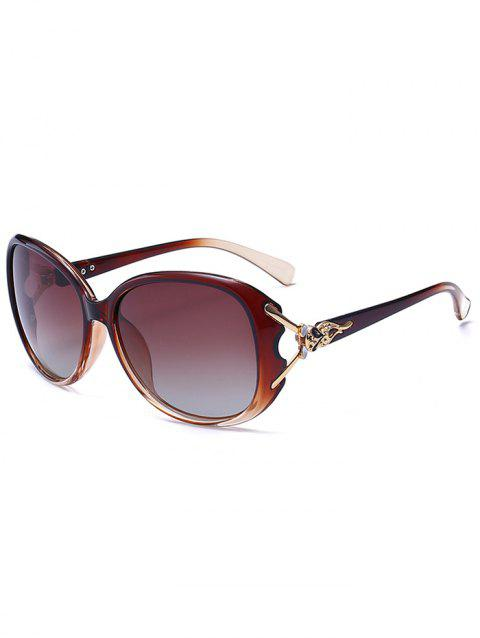 Metallic Carved Inlay Ombre Sunglasses - TEA COLORED