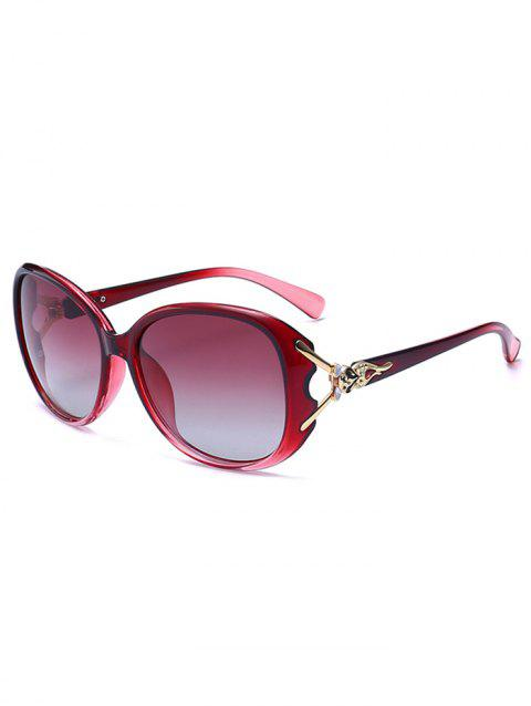 Metallic Carved Inlay Ombre Sunglasses - RED