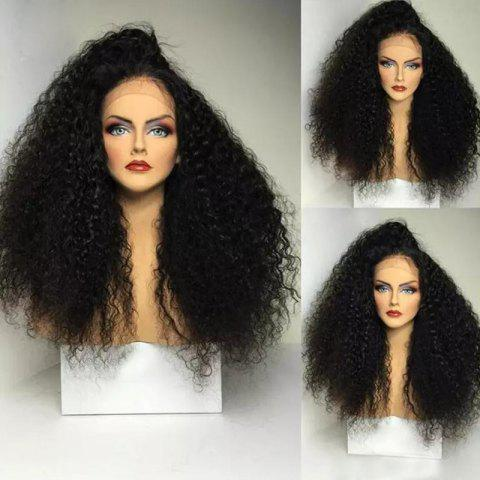 Long Side Part Shaggy Afro Curly Lace Front Synthetic Wig - BLACK