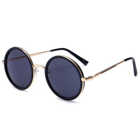 Round Polarizing Metallic Frame Retro Sunglasses - BLACK