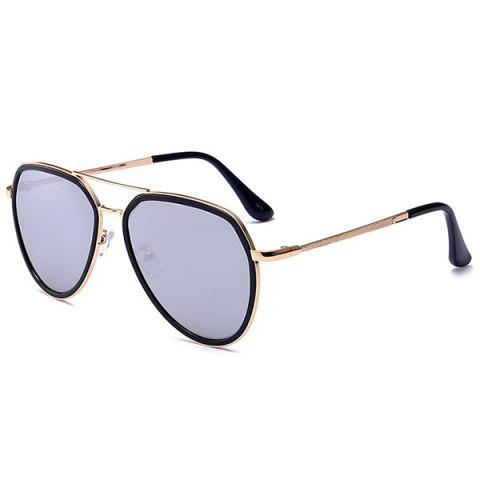 Metallic Frame Reflective Mirrored Pilot Sunglasses - BLACK/MERCURY
