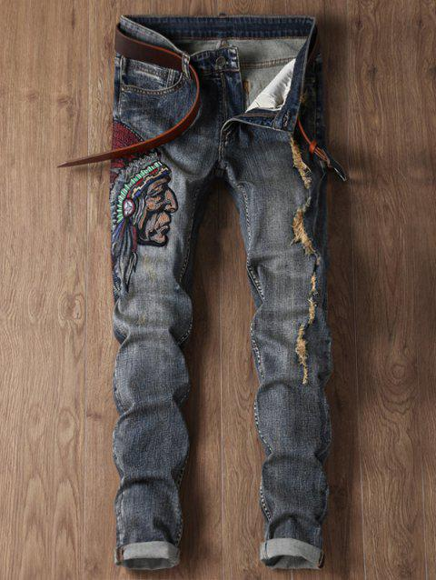 10315b84a9b85 LIMITED OFFER  2019 Zip Fly Ripped Tribal Embroidery Design Jeans In ...