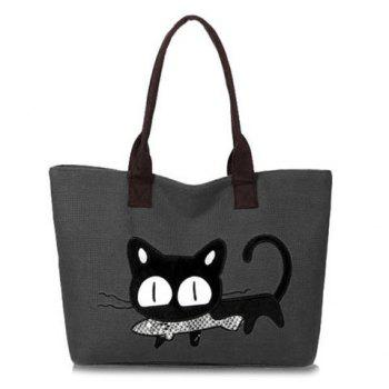 Trendy Cat Print and Canvas Design Shoulder Bag For Women