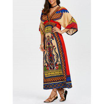 Empire Waist Tribal Print Maxi Surplice Dress