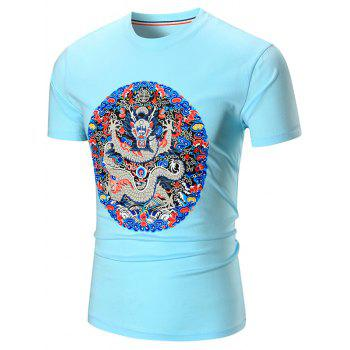 Short Sleeve Dragon Printed T-Shirt