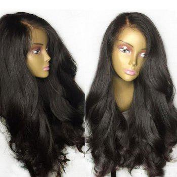 Thick Side Part Natural Ultra Long Straight Lace Front Synthetic Wig - BLACK