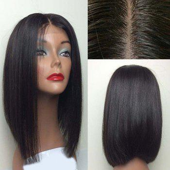 Center Part Medium Glossy  Straight Bob Lace Front Synthetic Wig