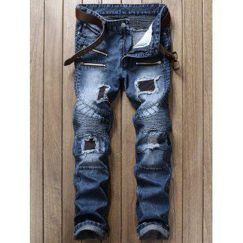 Distressed and Patch Design Biker Cuffed Jeans