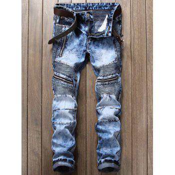 Zipper and Frayed Design Biker Jeans