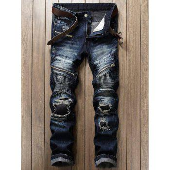 Patch and Zipper Design Frayed Ripped Jeans