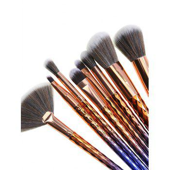 8Pcs Argyle Ombre Makeup Brushes Kit - BLUE/GOLDEN