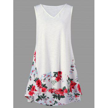 Floral Trim Sleeveless High Low Hem T-Shirt