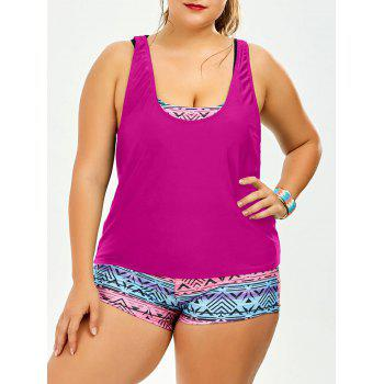 Strappy Print Padded Plus Size Bathing Suit