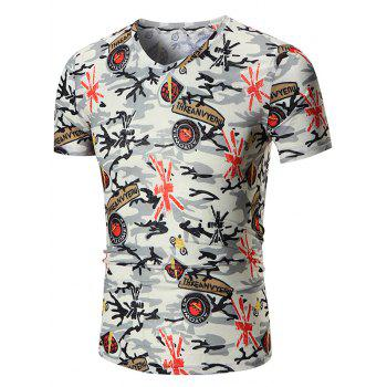 V Neck Graphic Printed Camouflage Tee