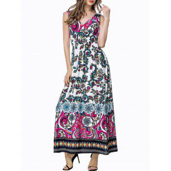 Plunging Neck Printed Maxi Bohemian Dress