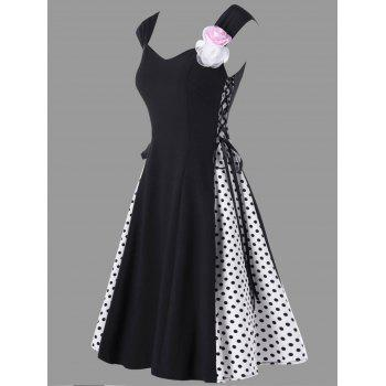 Retro Polka Dot Flower Embellished Lace Up Dress