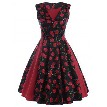 Printed Front Buttoned Sleeveless Vintage Dress