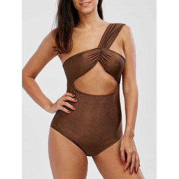 One Shoulder Cut Out One Piece Swimwear