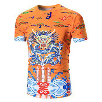 Crew Neck Dragon Printed Tee