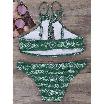 Geometric Lace Up Bikini Set - L L