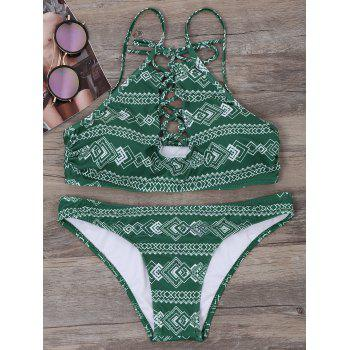 Geometric Lace Up Bikini Set - BLACKISH GREEN XL
