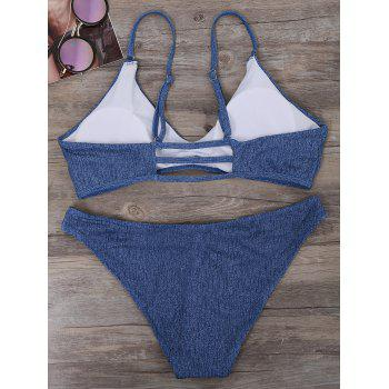 Denim Print Strappy Bikini Set - L L