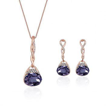 Rhinestone Artificial Amethyst Oval Jewelry Set