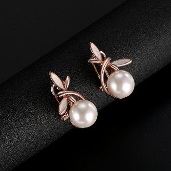 Artificial Pearl Dragonfly Pendant Necklace and Earrings - ROSE GOLD