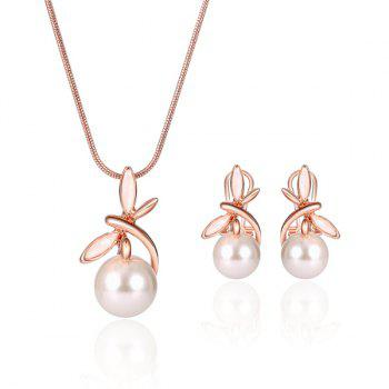 Artificial Pearl Dragonfly Pendant Necklace and Earrings
