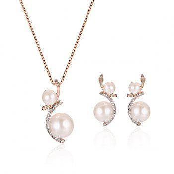 Artificial Pearl Rhinestone Pendant Necklace with Earrings