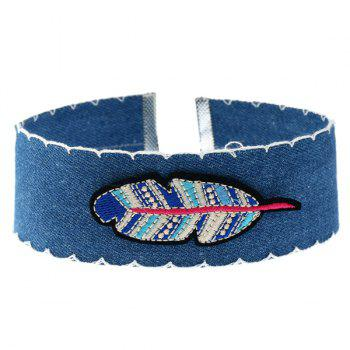 Feather Denim Embroidery Choker Necklace