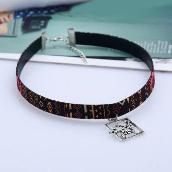 Alloy Rectangle Plant Ethnic Choker Necklace - multicolorCOLOR