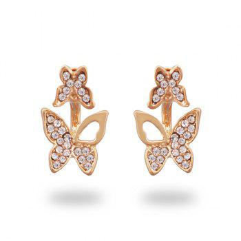 Alloy Rhinestone Tiny Butterfly Ear Jackets