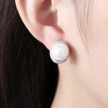 Rhinestone Artificial Pearl Tiny Stud Earrings