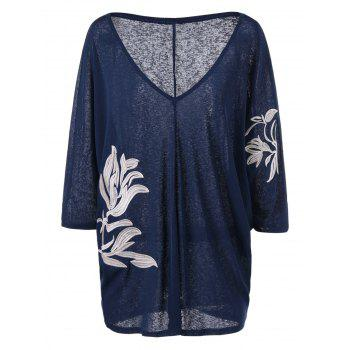 Plus Size Embroidery Heather V Neck T-Shirt