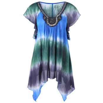 Plus Size Embellished Asymmetric Tie Dye Blouse