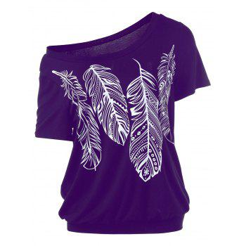 Feather Print Skew Collar T-Shirt