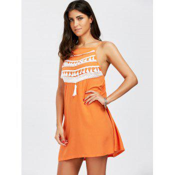 Spaghetti Strap Tassel Dress - ORANGE S