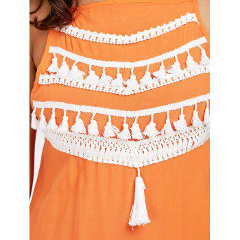 Robe en mousseline de soie spaghetti - Orange XL
