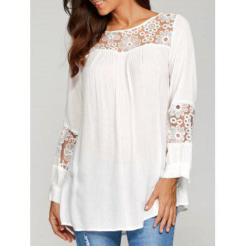 Lace Insert Smock Blouse