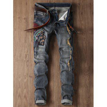 Zip Fly Ripped Tribal Embroidery Design Jeans