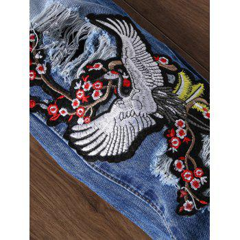 Crane Embroidery Ripped Zip Fly Jeans - BLUE 34