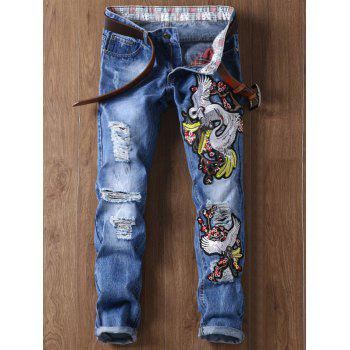 Crane Embroidery Ripped Zip Fly Jeans