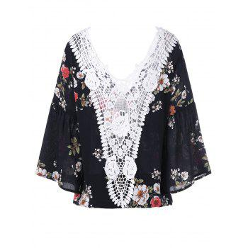 Lace Trim Floral Flare Sleeve Blouse